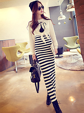 Pink Doll®Women's Round Casual Print Party Long Sleeve Two-piece Maxi Dress