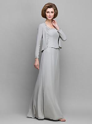 Lanting Bride® Pouzdrové Šaty pro matku nevěsty Na zem Dlouhý rukáv Šifón - Korálky