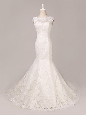 Trumpet / Mermaid Wedding Dress Court Train Scoop Lace with