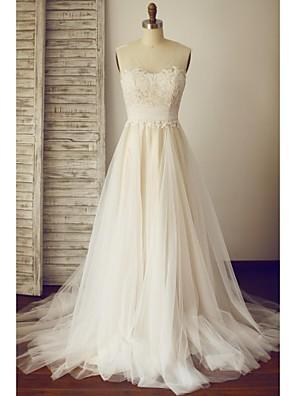 A-라인 플러스 사이즈 / 퍼티트 웨딩 드레스 - 쉬크&모던 색상 웨딩 드레스 스윕 / 브러쉬 트레인 사각형 레이스 / 튤 와 장식주름