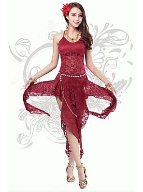 ריקוד בטן שמלות בגדי ריקוד נשים ביצועים / אימון פוליאסטר / מילק פייבר תחרה / חזית מפוצלת חלק 1 בלי שרוולים גבוה נסיכות שמלות 113