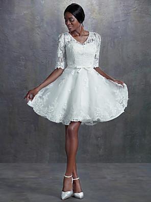 Lanting Bride A-line / Princess Petite / Plus Sizes Wedding Dress-Knee-length V-neck Lace
