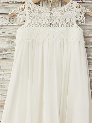 Sheath / Column Knee-length Flower Girl Dress - Chiffon / Lace Short Sleeve Scoop with