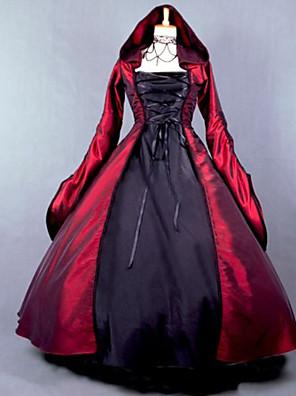 Jednodílné/Šaty Gothic Lolita Steampunk® Cosplay Lolita šaty Červená Patchwork Dlouhé rukávy Long Length Šaty Pro DámskéBavlna / Satén /