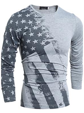 Print-Informeel / Werk / Grote maten-Heren-Katoen / Rayon-T-shirt-Lange mouw Wit / Grijs