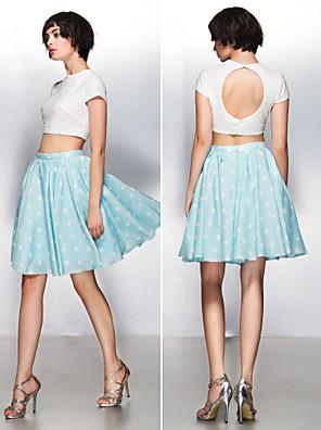 칵테일 파티 드레스 - 투피스 / 아름다운 뒤태 A-라인 쥬얼리 무릎 길이 져지 와 패턴 / 프린트