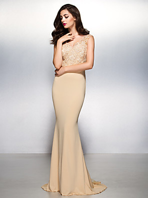TS Couture® Formal Evening Dress - Beautiful Back Trumpet / Mermaid V-neck Sweep / Brush Train Lace / Jersey with Lace