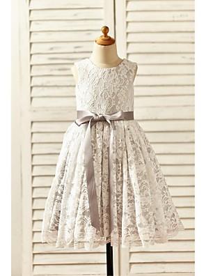 Γραμμή Α Κάτω από το γόνατο Φόρεμα για Κοριτσάκι Λουλουδιών - Δαντέλα / Σατέν Αμάνικο Σχήμα U με