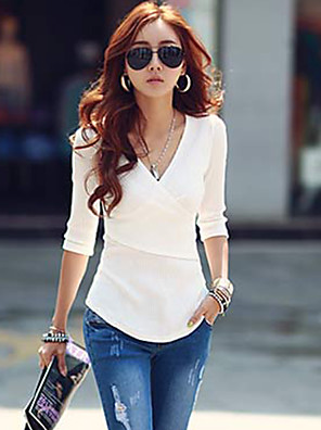 Women's Casual/Daily Simple / Street chic Fall T-shirt,Solid V Neck ½ Length Sleeve Red / White / Black / Gray Cotton Opaque