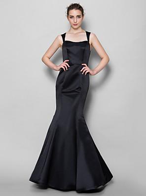 Lanting Bride® עד הריצפה תחרה / סאטן שמלה לשושבינה - בתולת ים \ חצוצרה מרובע עם תחרה