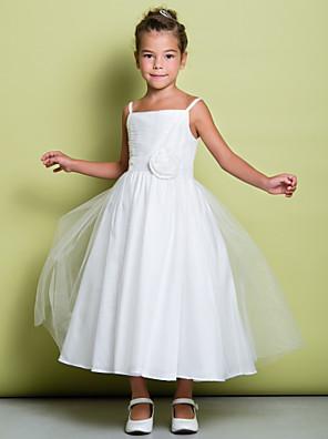 Lanting Bride A-Linie K lýtkům Šaty pro květinovou družičku - Tyl Bez rukávů Špagetová ramínka s Květina(y) / Sklady