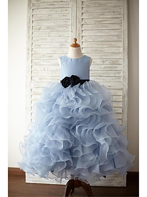 Ball Gown Floor-length Flower Girl Dress - Organza / Satin Sleeveless Jewel with