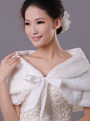 Fur Wraps / Wedding  Wraps Scarves Sleeveless Faux Fur Ivory Wedding / Party/Evening / Casual Shawl Collar Bow / Wave-like