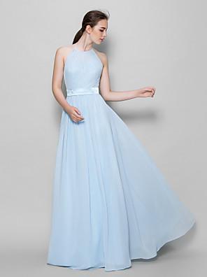 Lanting Bride® Na zem Šifón Šaty pro družičky A-Linie Ohlávka s