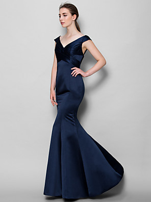 Lanting Bride® עד הריצפה סאטן שמלה לשושבינה  בתולת ים \ חצוצרה צווארון וי עם בד בהצלבה