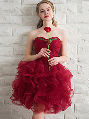 Krátký / Mini Organza Šaty pro družičky - Plesové šaty Srdce s Kaskádové řasení