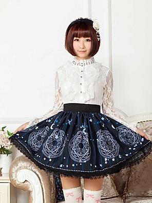 blå sol og måne magi logo lolita skjørt nydelig cosplay