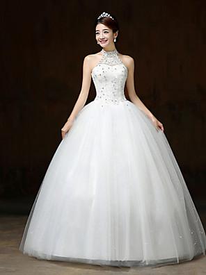 볼 드레스 웨딩 드레스 바닥 길이 홀터 넥 레이스 / 새틴 / 튤 와 스팽글