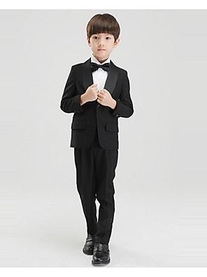 Czarny / Biały Polyester Oblek pro mládence - 4 Pieces Obsahuje