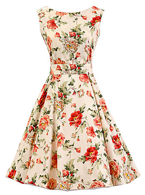 Women's Party/Cocktail Vintage A Line Dress,Floral Round Neck Knee-length Sleeveless Beige Cotton All Seasons