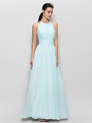 Lanting Bride® Na zem Šifón Šaty pro družičky - Pouzdrové Klenot s Nabírání