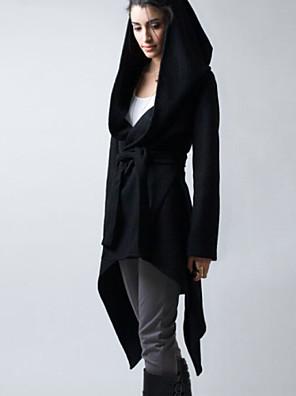 Dámské Jednobarevné Velké velikosti Kabát-Vlna / Bavlna Zima Kapuce Dlouhý rukáv Černá Střední