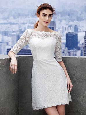 Lanting Bride® מעטפת \ עמוד שמלת כלה  קצר \ מיני סירה תחרה עם תחרה