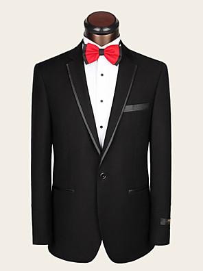 חליפות גזרה צרה פתוח Single Breasted One-button צמר / ויסקוזה חלק שני חלקים שחור כיס ישר ללא (חלק קדמי שטוח) שחור ללא (חלק קדמי שטוח)