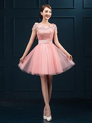 קצר \ מיני תחרה שמלה לשושבינה - מעטפת \ עמוד עם תכשיטים עם אפליקציות
