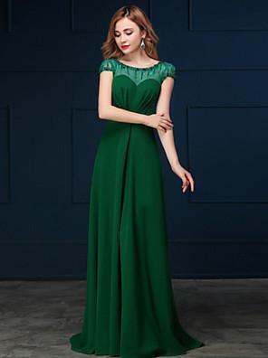 포멀 이브닝 드레스 A-라인 스쿱 스윕 / 브러쉬 트레인 쉬폰 와 레이스 / 진주 디테일 / 스팽글
