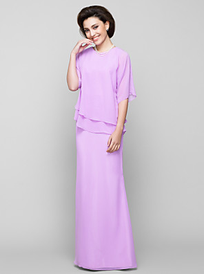 Trumpet / Mermaid Mother of the Bride Dress Floor-length Half Sleeve Chiffon with