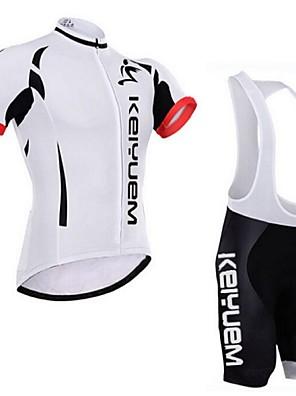 KEIYUEM® חולצת ג'רסי ומכנס קצר ביב לרכיבה יוניסקס שרוול קצר אופנייםעמיד למים / נושם / ייבוש מהיר / עמיד / מבודד / מוגן מגשם / עמיד לאבק /