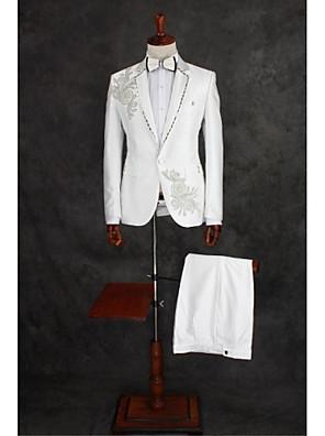 Suits Padrão Notch/ Paletó Comum 1 Butão Algodão / Poliéster Desenhos 2 Peças Marfim Lapela Reta Duas Pregas Branco Duas Pregas