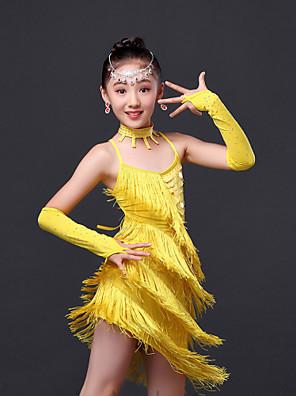 Vestidos ( Fúcsia / Verde / Vermelho / Amarelo , Poliéster , Dança Latina / Espetáculo ) - de Dança Latina / Espetáculo - Crianças