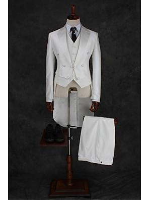 Obleky Na míru Otevřené Dvouřadé, se třemi knoflíky Směs bavlny Jednobarevné 2 ks Slonovinová Żaden Dvojitý (Dva) Bílá Dvojitý (Dva)