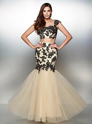 공식적인 저녁 드레스 couture® TS - 두 조각 맞는& 아플리케와 플레어 연인 바닥 길이 레이스 / 얇은 명주 그물