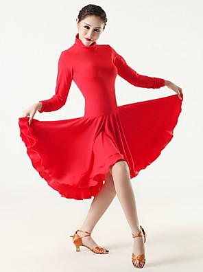Latinské tance Šaty Dámské Výkon Viskóza Nařasený Jeden díl Dlouhé rukávy Šaty M: 86cm L: 88cm XL: 90cm