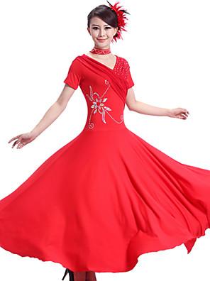 ריקודים סלוניים שמלות בגדי ריקוד נשים ביצועים Chinlon / ספנדקס עטוף 2 חלקים שמלות / NeckwearDress length S:126cm / M:127cm / L:128cm /