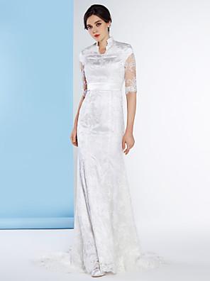Lanting Bride® בתולת ים \ חצוצרה שמלת כלה  שובל כנסייה (צ'אפל) צווארון גבוה תחרה עם תחרה / כפתור
