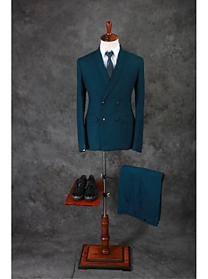 Obleky Na míru Šálový límec Dvouřadé, se třemi knoflíky Směs bavlny Jednobarevné 2 ks Limetkově zelená Rovné s klopou Dvojitý (Dva) Zelená
