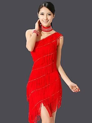 Latinské tance Šaty Dámské Výkon Čínský nylon Střapce Jeden díl Bez rukávů Šaty 110