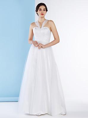 lanting 신부 A 라인 웨딩 드레스 발목 길이의 스트랩 레이스 / 얇은 명주 그물
