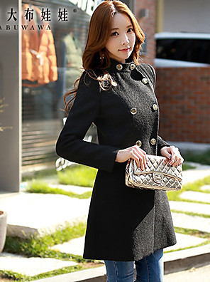 Women's double-breasted  bodycon Solid Black Coat
