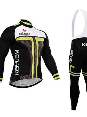 KEIYUEM® חולצת ג'רסי וטייץ ביב לרכיבה לגברים שרוול ארוך אופנייםעמיד למים / נושם / ייבוש מהיר / עמיד / מבודד / מוגן מגשם / עמיד לאבק / 3D