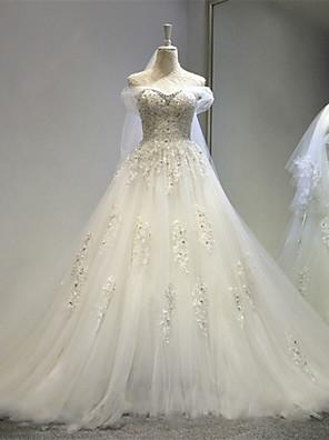 A-라인 웨딩 드레스 코트 트레인 오프 더 숄더 튤 와 아플리케 / 크리스탈 / 레이스