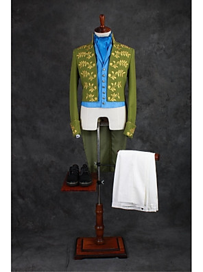 חליפות גזרה מחוייטת Mandarin Collar No Button תערובת כותנה דוגמאות 4 חלקים ירוק ללא כפול (שניים) כפול (שניים) רקמה