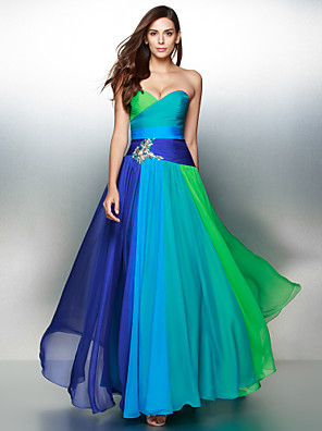 TS Couture® Formal Evening Dress A-line Sweetheart Floor-length Chiffon with Crystal Detailing / Criss Cross