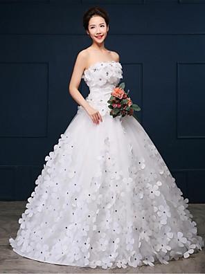 De Baile Vestido de Noiva Cauda Capela Tomara que Caia Organza / Cetim com Flor