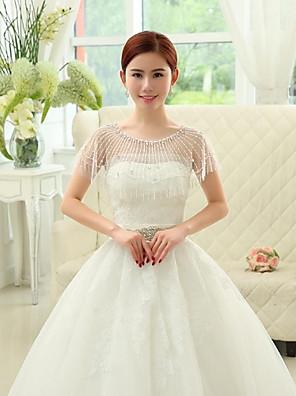 Wraps Wedding Mantelline Senza maniche Pizzo / Tulle / Paillettes Bianco Matrimonio / Da sera OvaleCon perline / Con cristalli / Con
