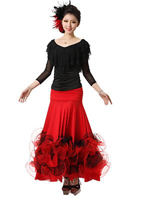 Dança de Salão Roupa Mulheres Actuação Renda / Seda Pano 2 Peças Top / SaiaTop M:52cm / L:53cm / XL:54cm / XXL:55cm Skirt M:92cm / L:93cm